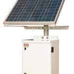 Solar panel with battery enclosure and pole mount